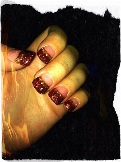 wide nail beds red and gold acrylic nails wide nail bed exotic nails nails by katie pinterest