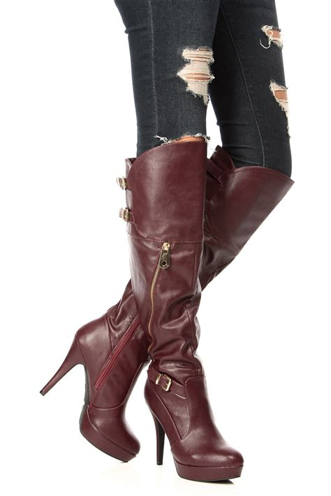 wine faux leather the knee platform boots cicihot