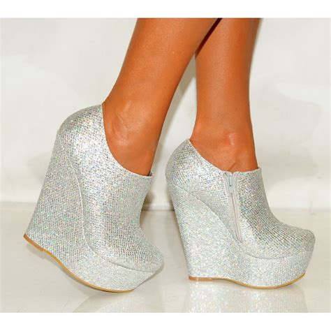 wedges high heels silver gold glitter metallic wedged platforms wedges ankle