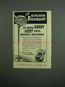 Kitchen Bouquet Brown Gravy 1950 Kitchen Bouquet Ad Gravy Rich