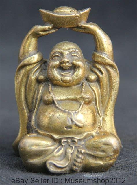 chinese buddhism brass seat yuan bao happy laugh maitreya buddha statue metal handicraft