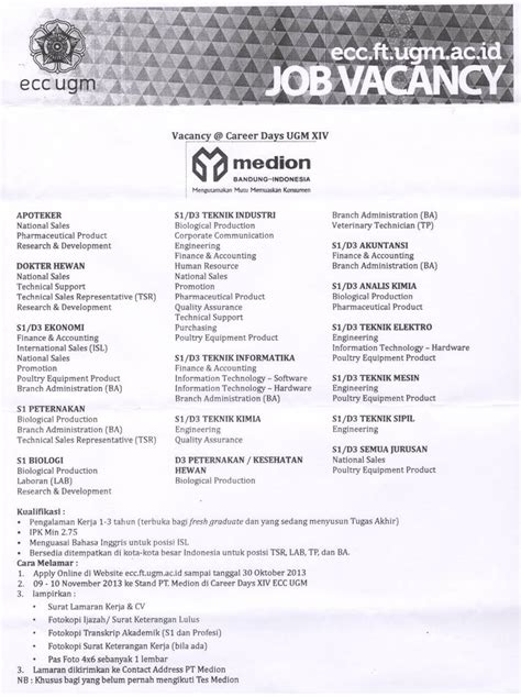 contoh surat lamaran kerja ecc ugm wisata dan info sumbar