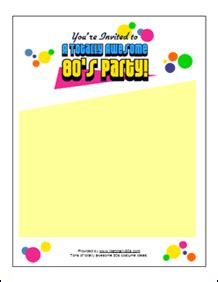 80s invitation template free 80s invitations like totally 80s