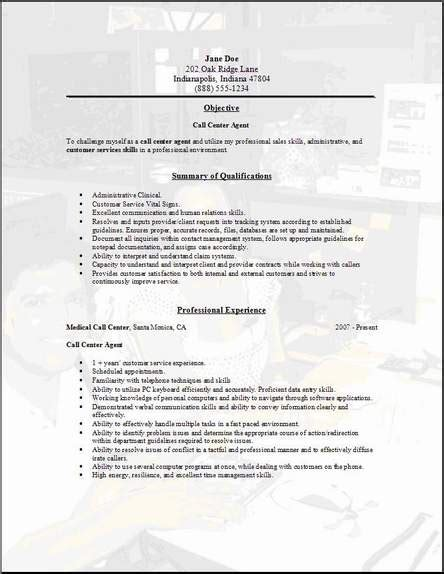 resume format for call center call center resume occupational exles sles free