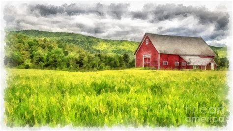 Red Barn Landscape Watercolor Painting By Edward Fielding The Barn Landscape