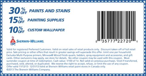 sherwin williams paint store coupons sherwin williams save 30 paints stains with