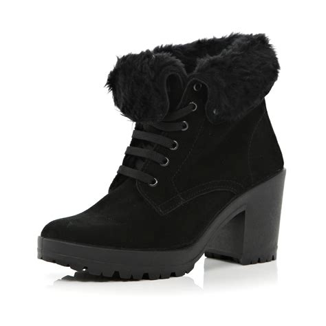 river island black faux fur lined ankle boots in black lyst
