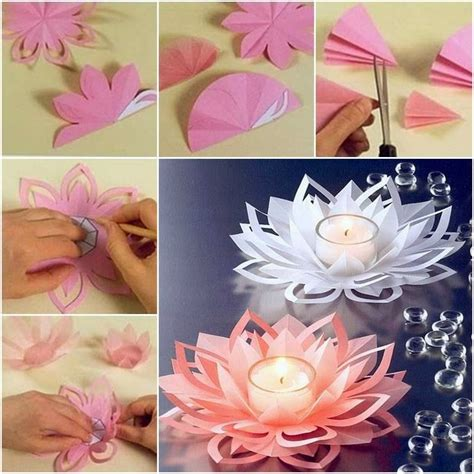 lotus flower paper craft ideas products diy how to make paper flower candle