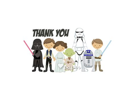 printable star wars thank you notes star wars printed thank you cards folded flat card by