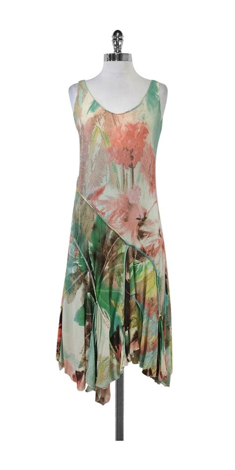 Green Print Dress Size L roberto cavalli multicolor pink seafoam green print mid