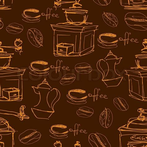 mug design background vector seamless pattern with handdrawn coffee cups beans