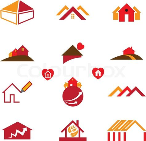 icon design office house office logo icons for real estate business stock