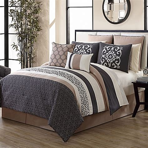 gray and tan bedding canton 12 piece comforter set in grey tan bed bath beyond