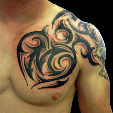 tribal tattoo on chest and arm best 25 tribal chest tattoos ideas on pinterest