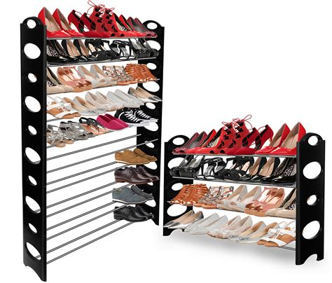 oxgord shoe rack for 50 pair wall bench shelf closet