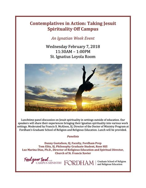 Fordham Mba Application by Ignatian Week Hill Events Fordham Cus Ministry