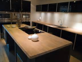 Trendy kitchen high gloss black cabinets with wood butcher block