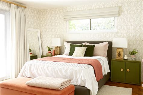 emily henderson bedroom before and after bedroom makeover with moss and coral