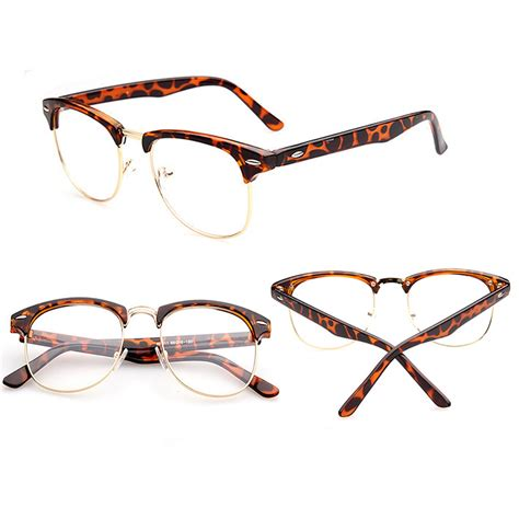 retro style half frame lens clear reading glasses