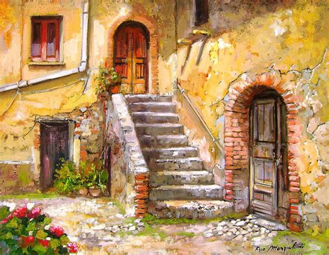 painting of house old house calabria italy painting by francesco mangialardi