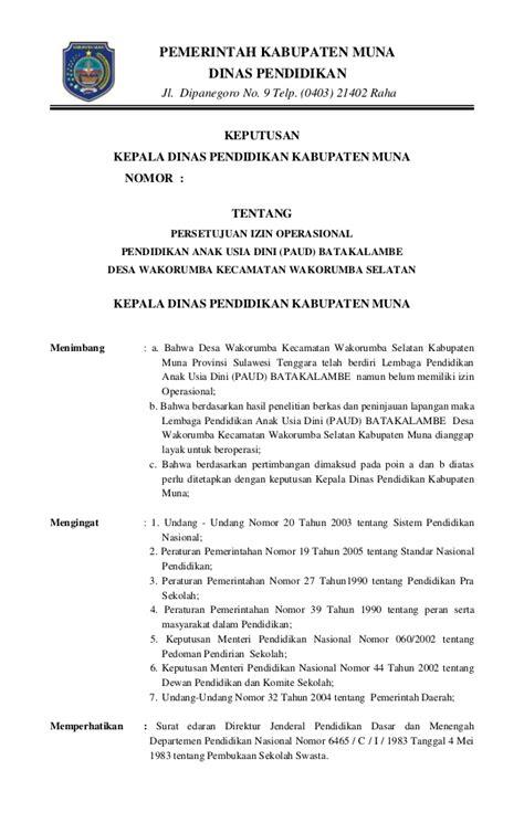 sk persetujuan izin operasional sekolah paud kab muna kec wakorsel