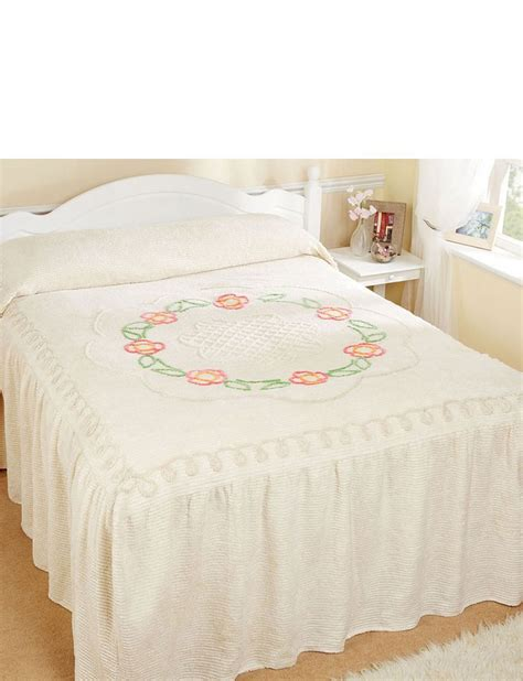 fitted bed coverlet flower scroll fitted candlewick bedspread by diana cowpe