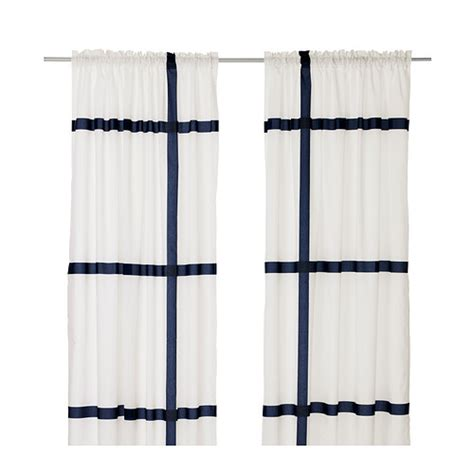 ikea curtain new ikea marmorblad pair of curtains 2 panels 57x98 modern retro white navy nip ebay