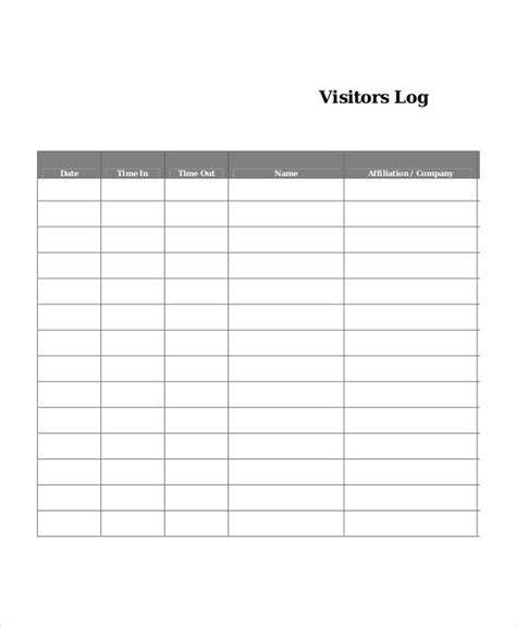 visitors log book template log book template 7 free word pdf documents