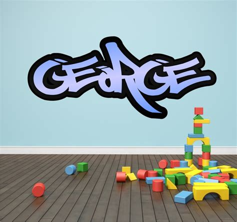 graffiti stickers for walls personalised graffiti name wall sticker transfer bedroom room boys ebay