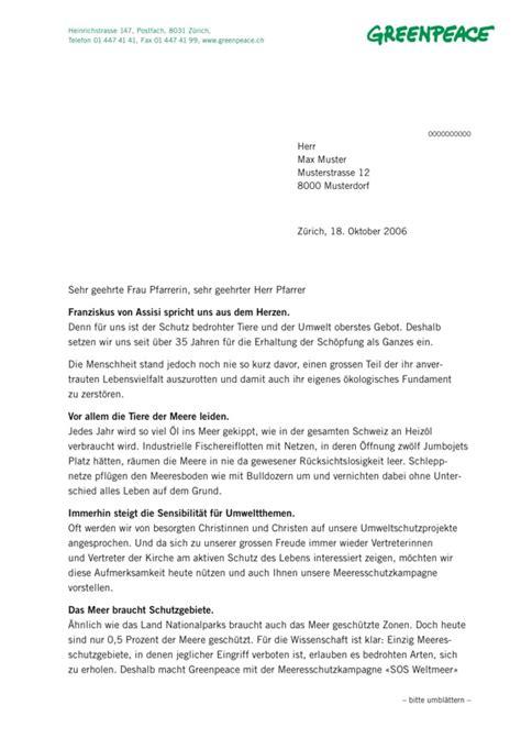 Brief Schweiz Ch Thinkpunk Greenpeace Mailing