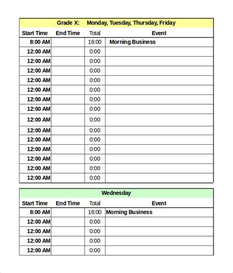 Weekly Printable Calendar Daily Schedule Template Pdf