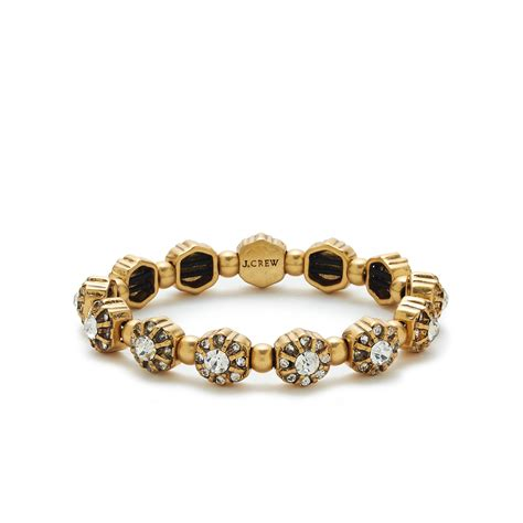 j crew metallic flower bracelet in gold lyst