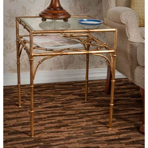 antique gold bamboo float accent table dessau home antique gold bamboo table with beveled glass