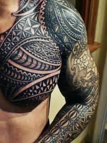 tribal tattoo arm shoulder chest tattoos pinterest