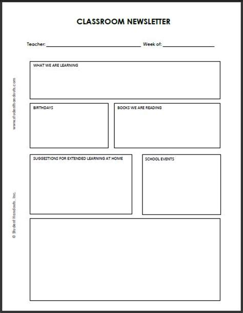 editable template for students blank classroom newsletter for teachers and students