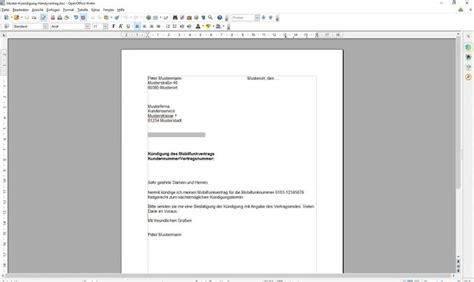 Musterbrief Vorlage Openoffice K 252 Ndigung Handyvertrag Vorlage Freeware De