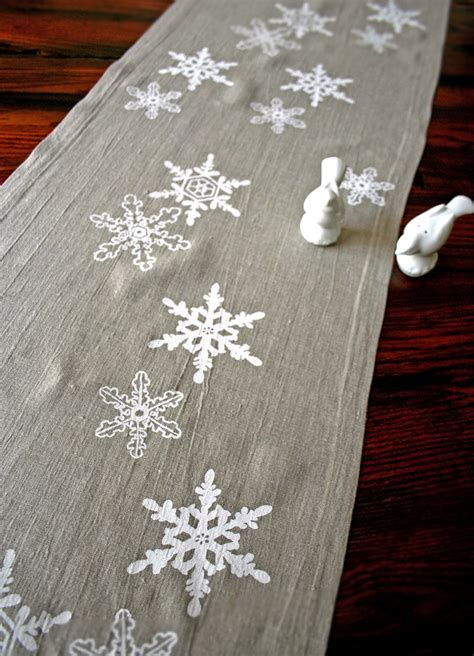 Snowflake Table Linens - ready to ship linen table runner snowflake winter holiday decor