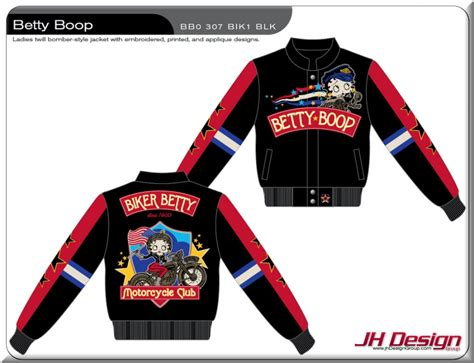 design jacket club betty boop motorcycle club ladies twill jacket by jh design