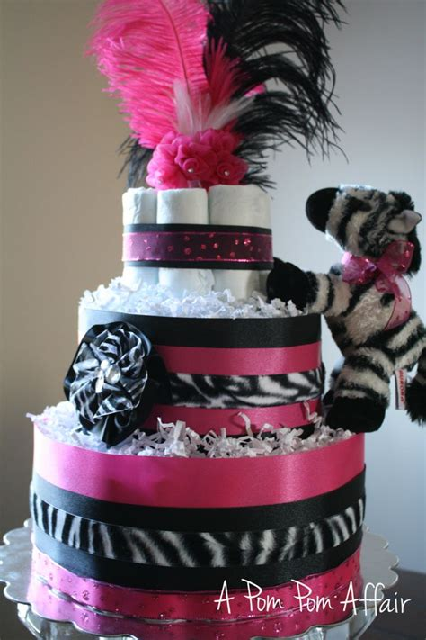 Hot Pink & Zebra Diaper Cake by APomPomAffair on Etsy, $70.00   Baby Shower Ideas   Pinterest