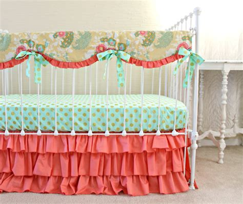 coral buttercup bumperless baby bedding lottie da baby