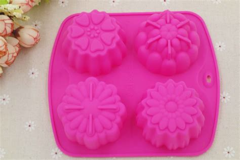Cetakan Silikon Silicone Mold R7 4 even pudding jello mold handmade soap molds flower silicone cake mold heat resistant e024 in