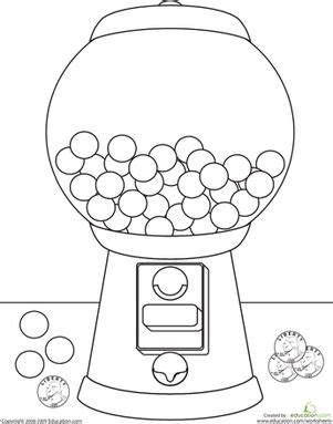 color the gumball machine worksheet education com