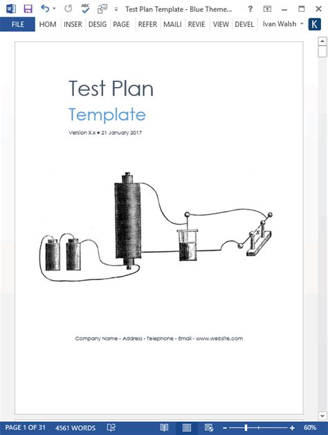 test plan download ms word excel template