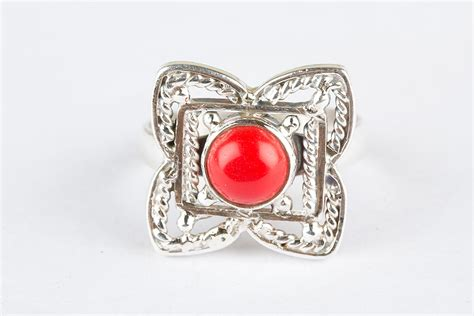 Handmade Silver Jewelry Uk - awesome handmade 925 silver coral gems ring handmade