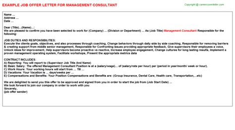 consultant offer letter template management consultant offer letters offer letters templates