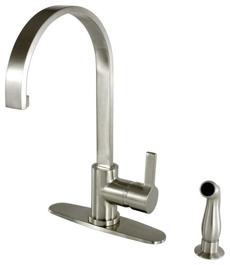 designer kitchen faucets contemporary continental satin nickel pull sprayer