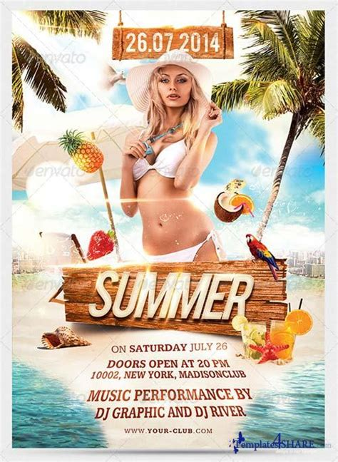 template photoshop summer graphicriver summer beach party flyer 7973328