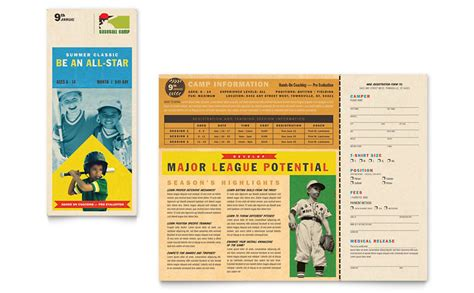sports brochure templates baseball sports c brochure template word publisher