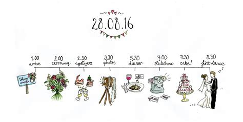 Wedding Ceremony Schedule by Illustrated Wedding Schedule Forages Finds