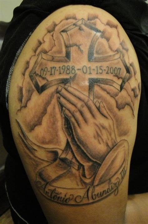 tattoo cross with praying hands praying hands w cross banner and clouds cross